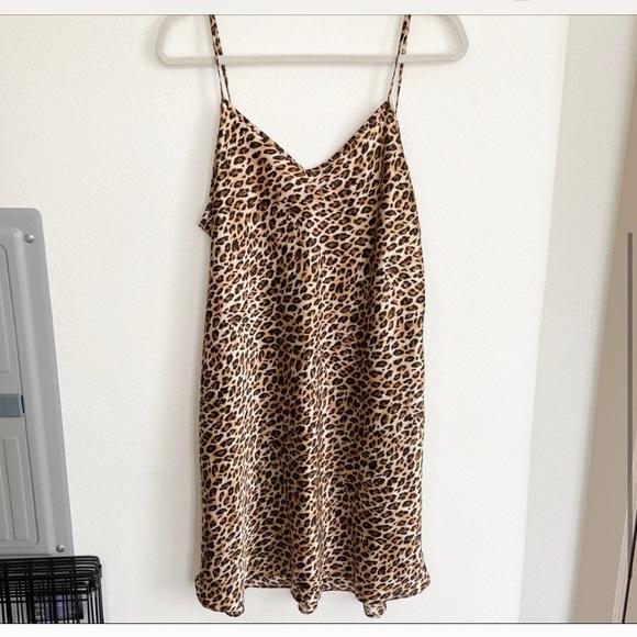 Vintage Satin Leopard Mini Slip Dress
